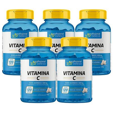 05 Vitamina C 500mg Profissional Beleza 120 Cápsulas