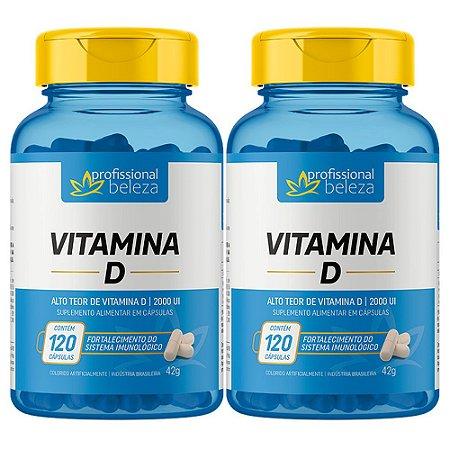 02 Vitamina D 2000ui Profissional Beleza 120 Cápsulas