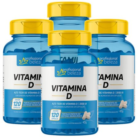 04 Vitamina D 2000ui Profissional Beleza 120 Cápsulas