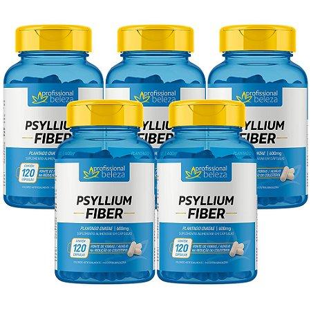 05 Psyllium Fiber 600mg Profissional Beleza 120 Cápsulas