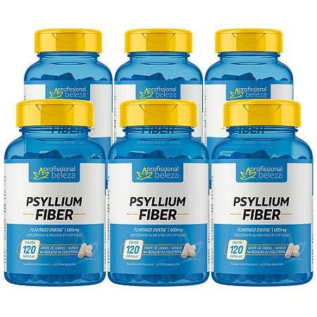 06 Psyllium Fiber 600mg Profissional Beleza 120 Cápsulas