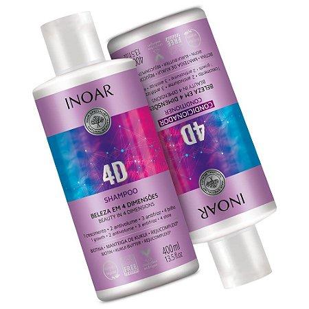 Kit Inoar 4d Anti Frizz Shampoo + Condicionador 2x400ml