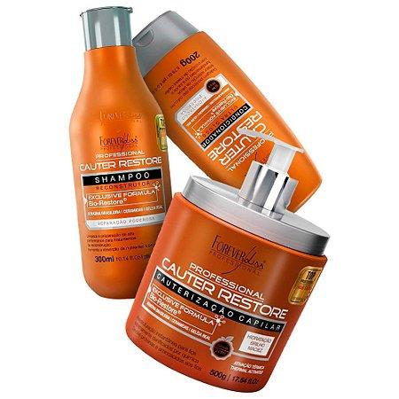 Forever Liss Cauter Restore Shampoo + Condicionador + Máscara 500g
