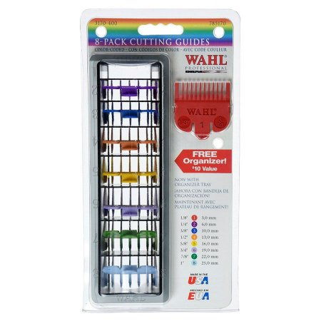 Kit Pentes Para Máquina de Corte Wahl Guia Coloridos do Nº 1 ao 8