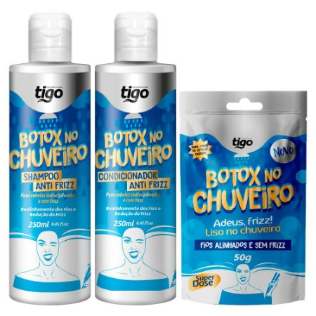 Kit Completo Botox No Chuveiro Adeus Frizz Tigo 3 Itens