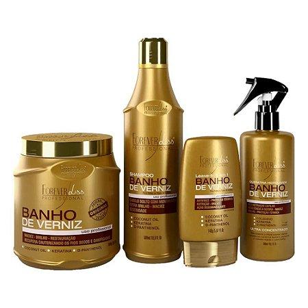 Kit Forever Liss Banho De Verniz Shampoo + Leave-in + Queratina + Máscara 1Kg