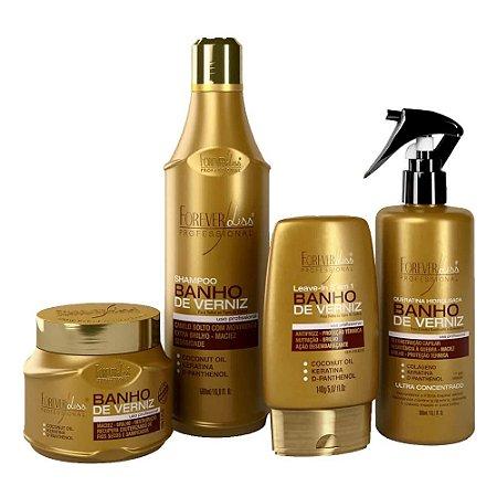 Kit Forever Liss  Banho De Verniz Shampoo + Leave-in + Queratina + Máscara 250g