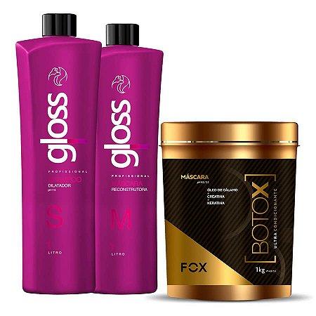 Kit Progressiva Fox Gloss Litro + Botox Ultra Condicionante Kg