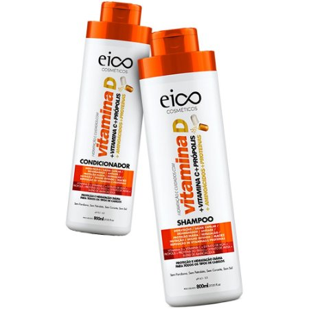 Kit Eico Vitamina D Shampoo 800ml + Condicionador 800ml