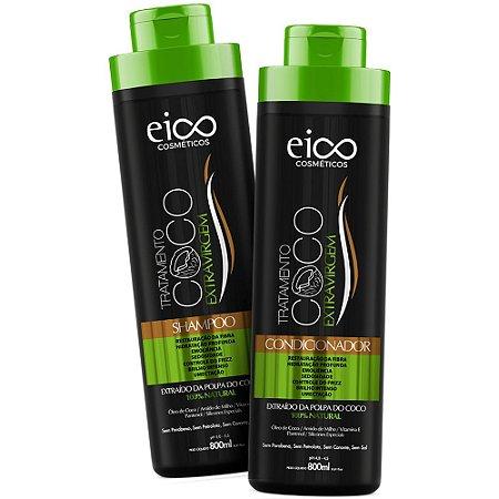 Kit Eico Óleo De Coco Shampoo 800ml + Condicionador 800ml