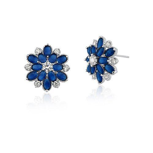 Brinco Vivid Flor Azul Semi Joia