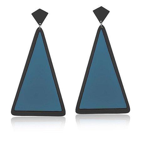 Brinco Vivid Pendente Triangulo Azul e Preto Folheado Ródio Negro