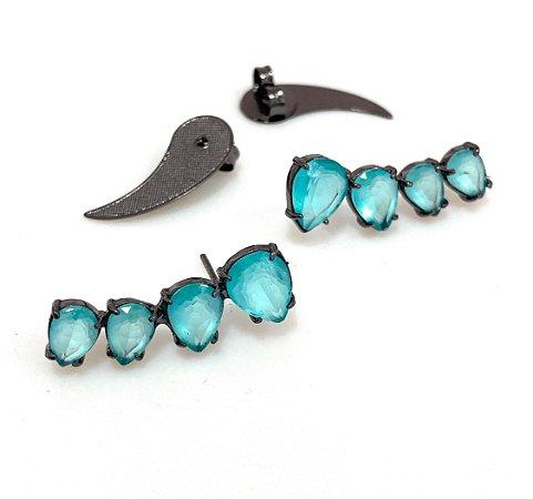 Brinco Vivid Ear Cuff Gotinhas Cristal Azul Folheado Rodio Negro