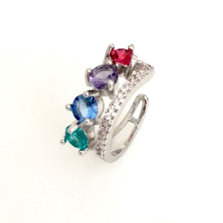 Brinco Vivid Piercing Fake Duplo Colors Folheado a Ródio semi jóia