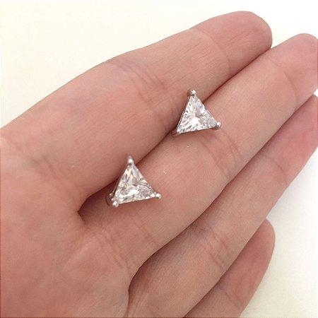 Brinco Vivid Triangulo em Cristal Folheado a Ródio