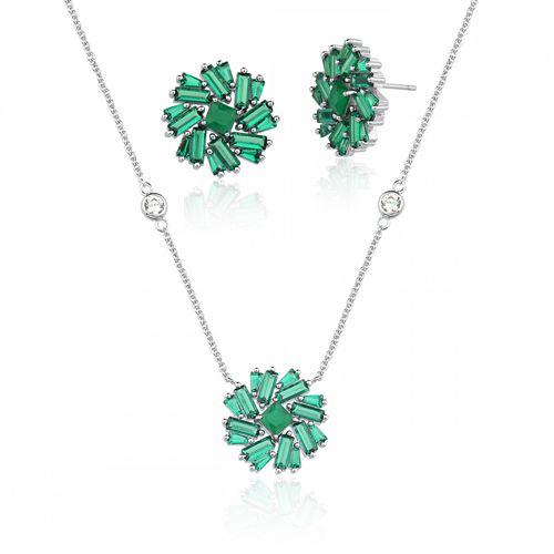 Conjunto Vivid Flor Verde Semi Joia