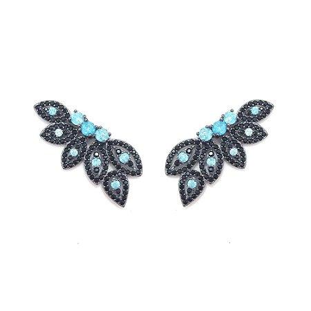 Ear Cuff Vivid Folhas Azul Semi Joia