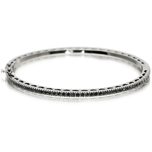 Bracelete Vivid 1 Linha Cravejada Preto Semi Joia