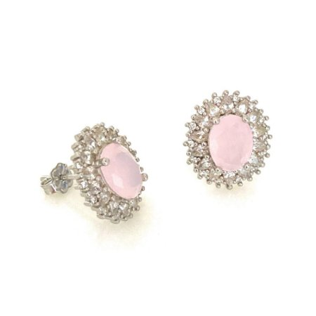 Brinco Vivid Oval Cristal Rosa  Cravejado Folheado a Rodio  Semi Jóia