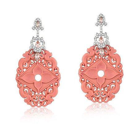 Brinco Vivid Cristal  Rosa  e  Baquelite  Coral Folheado Ródio