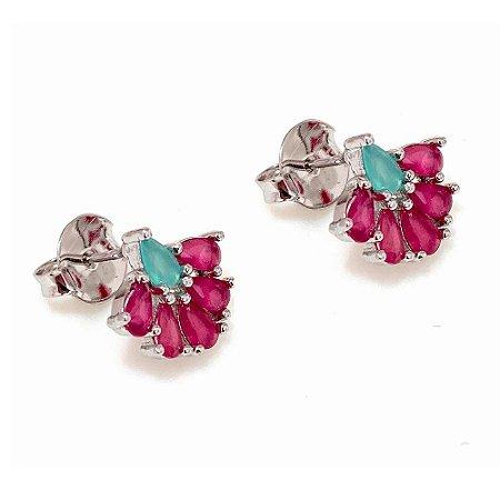 Brinco Vivid Leque Cristal Rosa e Verde Folheado Rodio Semi Joia