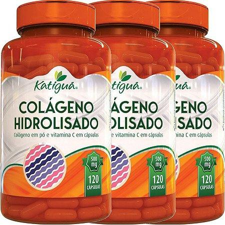 Kit 3 Colágeno Hidrolisado Com Vitamina C 120 Cápsulas Katigua