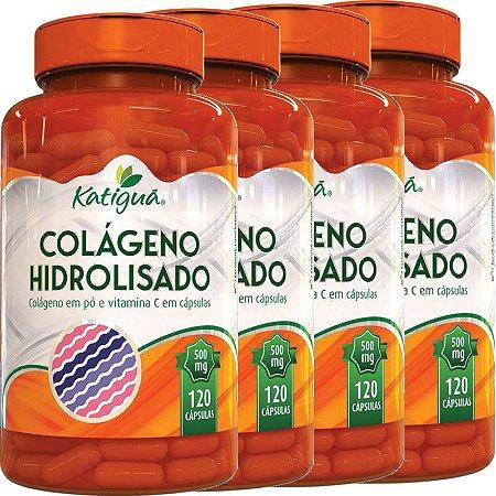 Kit 4 Colágeno Hidrolisado Com Vitamina C 120 Cápsulas Katigua