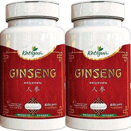 Kit 2 Ginseng Renshen (Panax) 400 mg 60 Capsulas Katigua