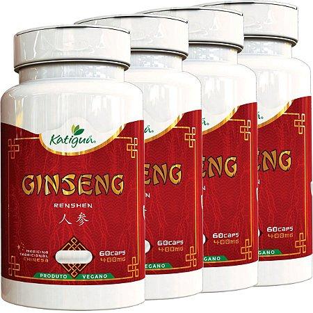 Kit 4 Ginseng Renshen (Panax) 400 mg 60 Capsulas Katigua