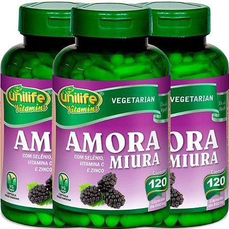 Kit 3 Amora Miura com Vitaminas Unilife 120 capsulas