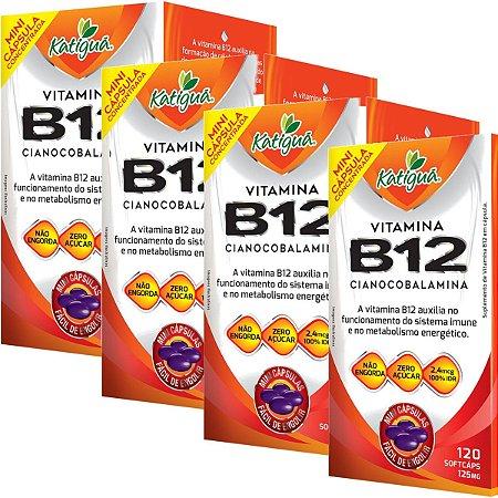 Kit 4 Vitamina B12 Cianocobalamina 120 Capsulas Minicapsulas Softgel Katigua
