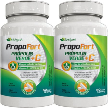 Kit 2 Propofort Propolis Verde + Vitamina C 60 Capsulas Katigua