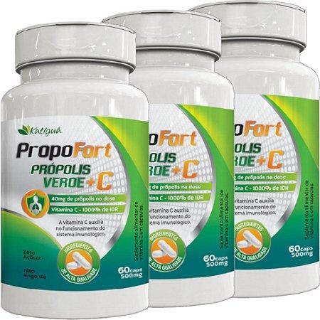 Kit 3 Propofort Propolis Verde + Vitamina C 60 Capsulas Katigua