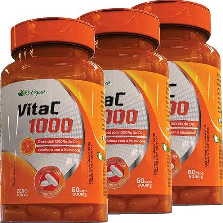 Kit 3 Vita C 1000 Vitamina C 60 Cápsulas Katigua