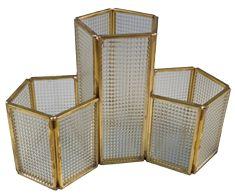 Porta Objetos em Metal e Vidro com Detalhes Dourado