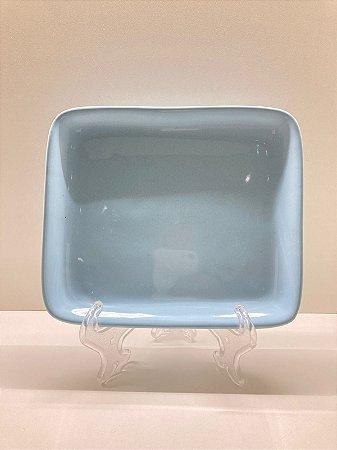 Suporte ornamental raso médio azul pastel