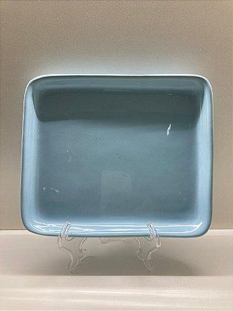 Suporte ornamental raso grande azul pastel