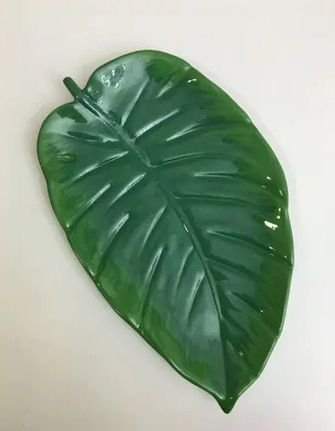 Prato cerâmica folha
