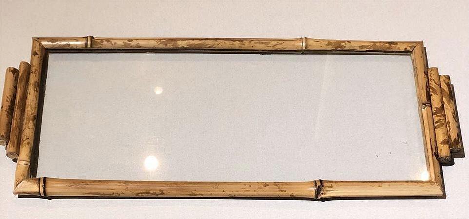 Bandeja fundo vidro Bambu com alça