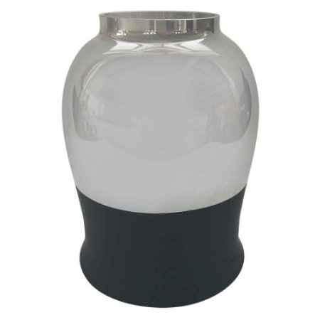 Vaso de vidro metalizado prata e preta