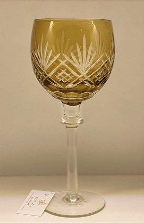 Conjunto 6 taças lapidadas vinho âmbar