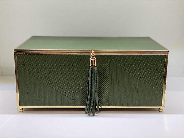 Caixa decorativa verde metal dourado