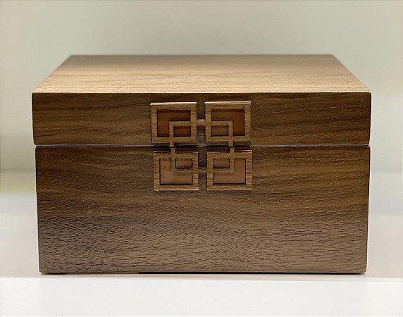 Caixa retangular Jade madeira marrom