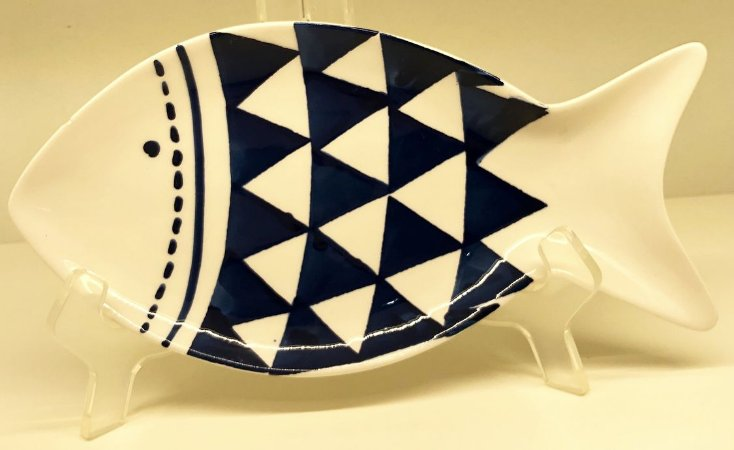 Travessa em  cerâmica formato peixe