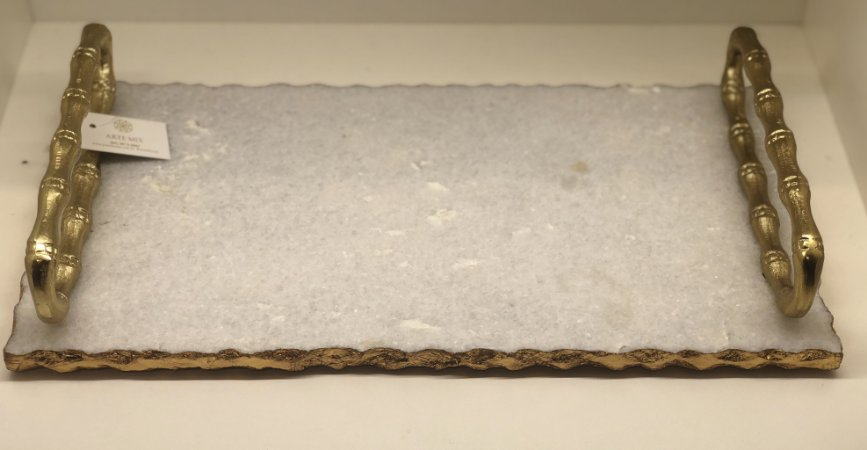 Bandeja mármore alça alumínio