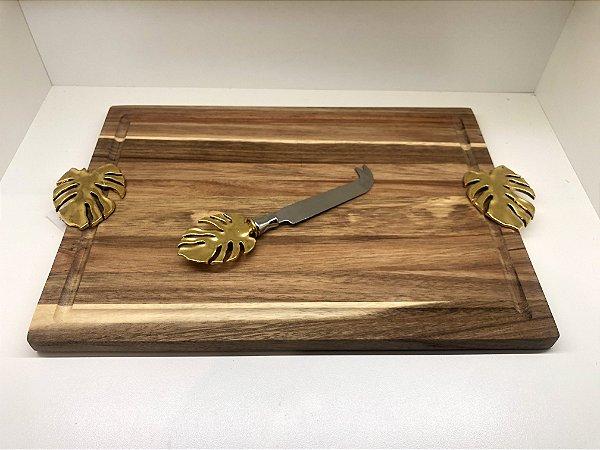 Tábua de madeira costela de Adão dourado c/ faca