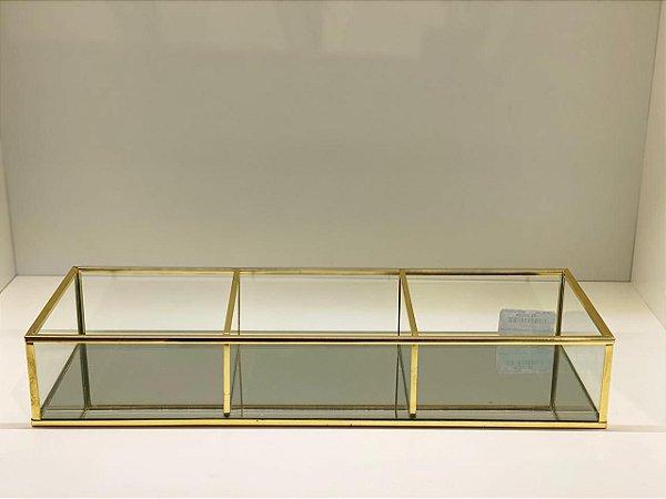 Caixa 3 divisórias dourada com espelho
