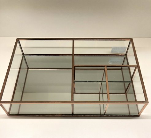 Porta objetos vidro e metal cobre