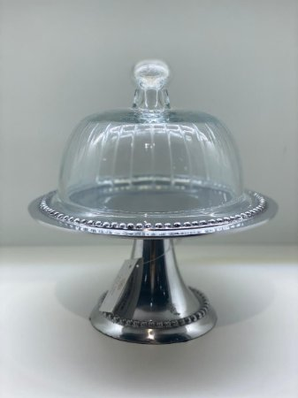 Porta Bolo silver de vidro