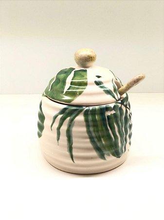 Porta Mel em cerâmica linha folhas verdes